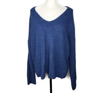 GAP Blue V Neck Cozy Wool Blend Sweater